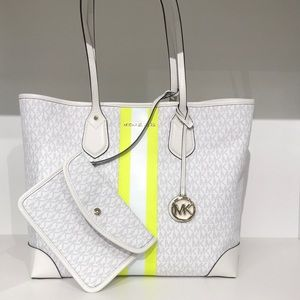 Michael Kors neon yellow logo stripe tote bag